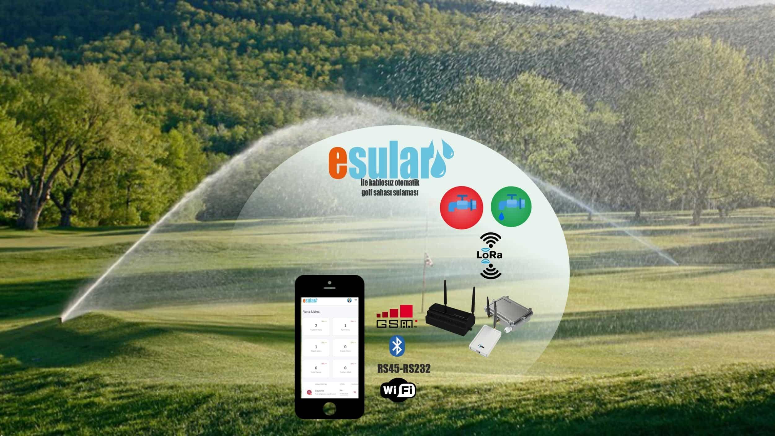 Esular otomatik golf sahası sulama sistemi