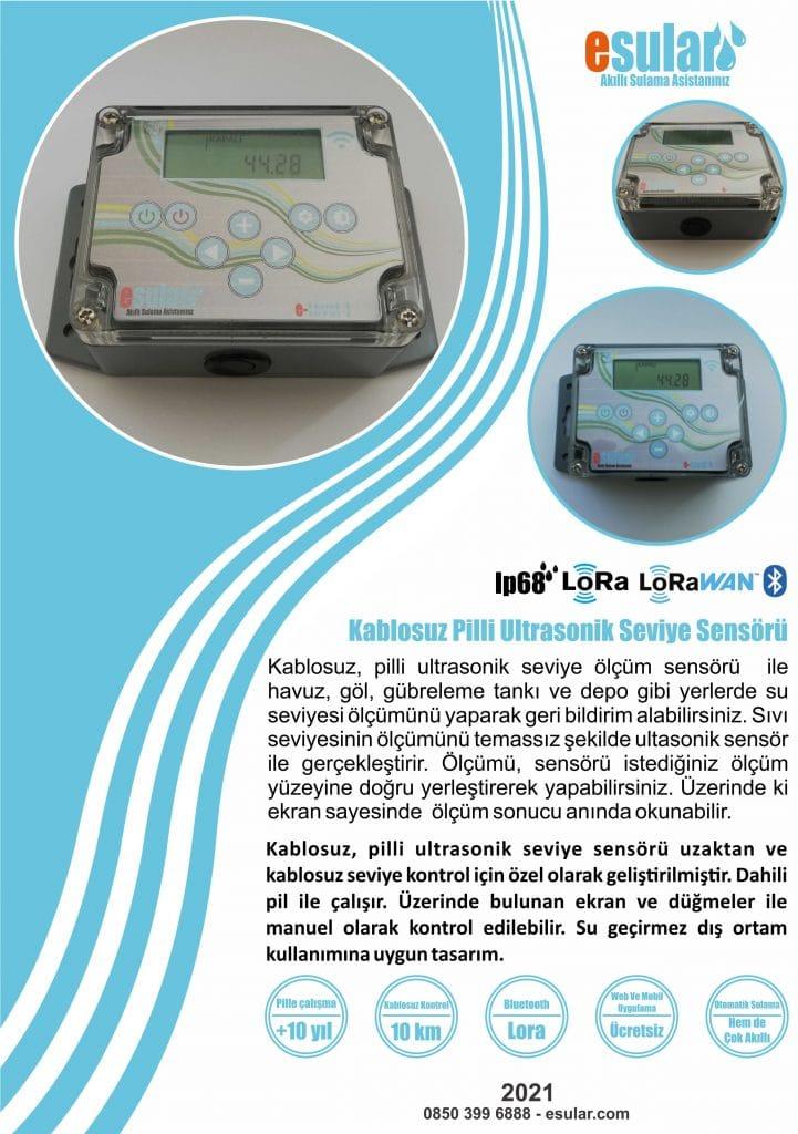 Kablosuz Pilli Ultrasonik Seviye Sensörü