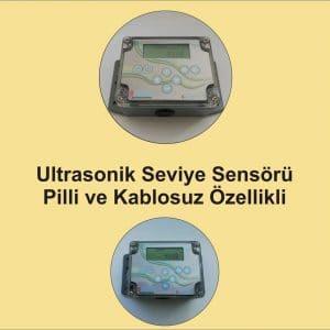 Kablosuz, pilli, ultrasonik sıvı seviye sensörü